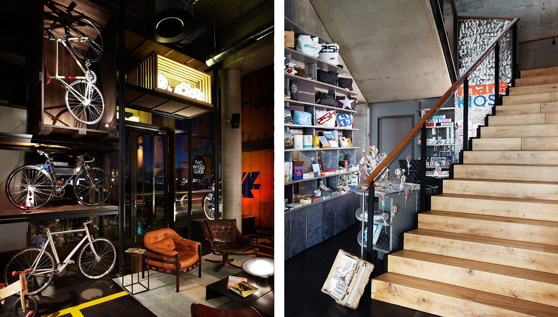 Messe Design Live Kommunikation Hamburg 25Hours Hotel Hafencity Erdgeschoss Hochregal Fundstücke Fahrräder Going Places EventLabs